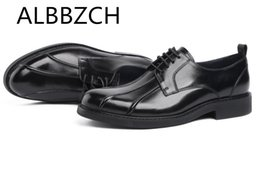 casual office work shoes men NZ - ALBBZCH Derby Dress Men shoes Quality Real Cow Leather Casual shoes Men's Business Office Work Size 38-44