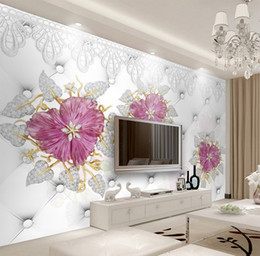 pink flower bedroom wallpaper NZ - Custom Wallpaper 3D Luxury Jewellery Pink Flowers Living Room Bedroom Background Wall Decoration Wallpaper