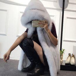 Wholesale Plus Size 6XL Fur Hood Vest Women Faux Fur Vest Striped Long Gilet Sleeveless Coat Winter Jacket V888