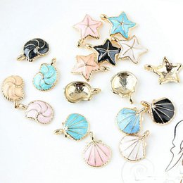 $enCountryForm.capitalKeyWord Australia - 100pcs DIY jewelry bead K gold enamel alloy pendant small fresh starfish conch charms free shipping