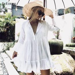 Dress Swimwear Bikini Cover Australia - Sexy Beach Cover Up White Crochet Beach Tunic Women Bikini Cover-ups Beachwear Female Swimsuit Cover Up Loose Dress Swimwear J190618