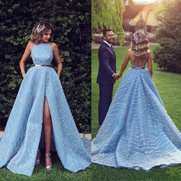 Robes Red caRpet online shopping - 2020 Blue Beaded Evening Dresses With Pocket Sexy High Split Spaghetti Prom Dress Formal Party Gowns robe de soiree Abendkleider