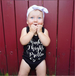 Cheap fashion baby Clothing online shopping - Infant Rompers Baby Vest Romper Kids Jumpsuit Toddler Girls Summer Clothes Boy Sleeveless Black Letter Print Fashion Clothing Cheap A41603