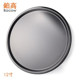 oven plates UK - 12 inch carbon steel non stick shallow bottom pizza plate round pizza plate DIY household baking oven
