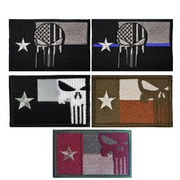 Punisher morale Patches online shopping - US Texas Flag Punisher D Embroidery Armband Military Tactics Morale Badge Army Fan Clothing Backpack Hat Personality Patch