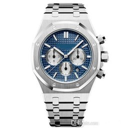 Chronograph 42mm online shopping - hot sale mm Quartz Six Neddle Chronograph Movement Watches Full Stainless Steel Male Fashion Business Mens Wristwatches