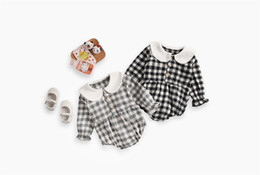 Toddler Leopard Jumpsuit Australia - INS Toddler Baby Girls Plaid Jumpsuits Turn-down Collar 100% Cotton Front Button Long Sleeve Romper Spring Fall Newborn Romper For 0-3T