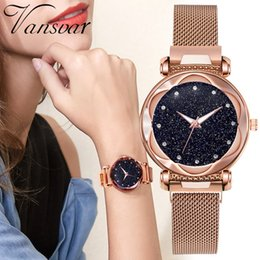 wrist magnets NZ - Luxury Diamond Rose Gold Watch Women's Magnet Starry Sky Ladies Wrist Watches Rhinestone Flower Mirror Female Clock reloj mujer