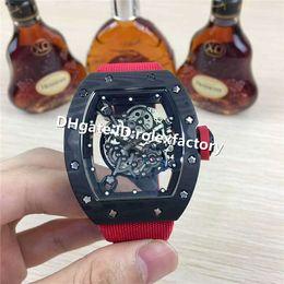 $enCountryForm.capitalKeyWord Australia - Top Luxury Men Watch 055 Watch Skeleton Dial NTPT All Carbon Fiber Case Red crown Canvas Strap Automatic Movement