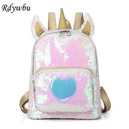 Pu Leather Book Bag Australia - Rdywbu 2 Way Sequins Unicorn Backpack Fashion Glitter School Book Bag Girls Cute Hologram Laser Pu Leather Travel Mochila B616 Y19061102