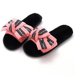 $enCountryForm.capitalKeyWord Australia - HEFLASHOR Warm Cute Bow Autumn Winter Woman Slippers Home Wear Sandals Woman Flats Plus Size Comfort Platform Wedges Shoes