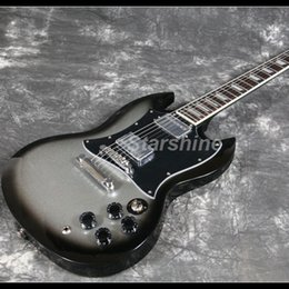 Sg guitar color online shopping - 2019 Starshine New Design Top Quality SG Strandard Electric Guitar Gray Color Full Pickguard Grover Tuner