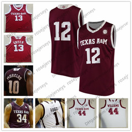 26dae79f4bb9 Custom Texas A M Aggies College Basketball white red Stitched Any Name  Number  1 Savion Flagg 2 TJ Starks 21 Christian Mekowulu Jersey S-4XL