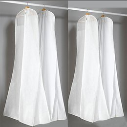 breathable storage bags NZ - 180cm Breathable Wedding Gown Dress Garment Clothes Carry Cover Bridal Garment Storage Protector Bags for Mermaid Wedding Dress Wholesale