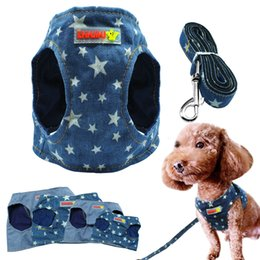 dog clothes pet harness NZ - Denim Dog Harness Vest And Leash Fashion Puppy Pet Jacket Jean Star Clothes With D Ring Blue For Small Dogs Cat Chihuahua