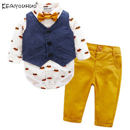 $enCountryForm.capitalKeyWord Australia - Winter Baby Boy Clothes Sets Gentleman Suits Rompers+Jeans 2 Pcs Long Sleeve Infant Clothing Baby Clothes Sets Christening Gowns