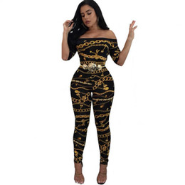 Plus Size Fitted Jumpsuits Australia - New Women's Sexy Tight-fitting Chain Print One-shoulder Jumpsuit Plus Size Jumpsuits And Rompers For Jumpsuits For Women 2019