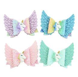 $enCountryForm.capitalKeyWord UK - INS Kids Angel Wings Glitter Hairpin Unicorn Bowknot Hairpins Princess Cartoon Rainbow Barrettes DIY Hairclip Kids Hair Clip Headwear