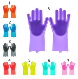 Wholesale 2pcs pair Magic Washing Brush Silicone Glove Resuable Household Scrubber Anti Scald Dishwashing Gloves Kitchen Bed Bathroom Cleaning Tools