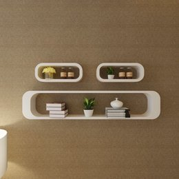 books live Canada - 3 White MDF Floating Wall Display Shelf Cubes Book DVD Storage Living Room Furniture