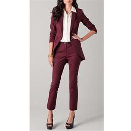 Toptan satış Kadın takım elbise Bordo Kadınlar Bayanlar Custom Made İş Ofis Smokin Resmi Iş Elbisesi Takım Elbise Ceket + Pantolon