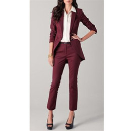 $enCountryForm.capitalKeyWord NZ - Women suit dress Burgundy Women Ladies Custom Made Business Office Tuxedos Formal Work Wear Suits Jacket+Pants