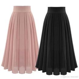f53b73dcb0a Мода Лето Богемия Шифон Длинные Макси Юбки Высокой Талией Плиссированные  Boho Пляжные Юбки Женщины Одежда Черный Розовый Цвет SizeS-2XL
