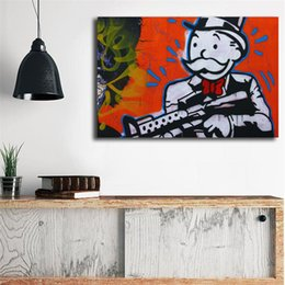 بندقية في اليد كتابات بواسطة monopolyingly جدار الفن قماش المشارك وطباعة قماش اللوحة الزخرفية صورة لغرفة النوم ديكور المنزل