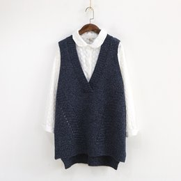 hooded sweater vests women Australia - Autumn Winter Women Sweater Korea Vneck Sleeveless Mixed Color hollowout Knitted Vest Loose Casual Women's Sweaters Women's Clothing Women T