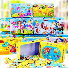 $enCountryForm.capitalKeyWord Australia - Iron Box 60pcs set Wooden Cartoon 3d Toys 3d Wood Puzzle Iron Box Package Jigsaw For Children Montessori Early Educational Toys