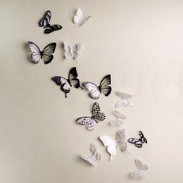 crystal butterfly wall NZ - Crystal 18Pcs 3D Butterflies DIY home decor wall stickers for kids room Christmas party decoration kitchen refrigerator decal