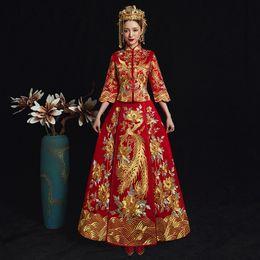 d5cefd14e Vintage Phoenix Cheongsam Vestidos Chinese Ancient Women Traditional Qipao  Noble Female Wedding Dress Elegant Evening Gowns
