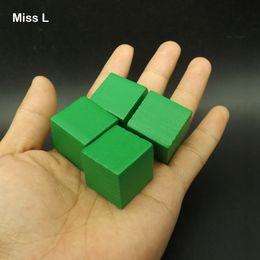 Wooden Cubes Children Toys Australia - Green 100 pcs 2.5 cm Pine Tree Wooden Cube Game Gadget Brain Teaser Common Sense Education Toys For Children