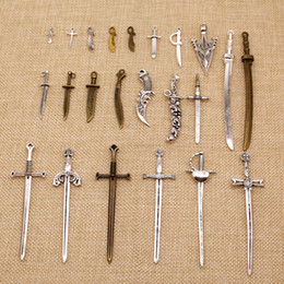 knife swords wholesale Australia - 60 Pieces Metal Charms For Jewelry Making Weapon Sword Fencing Knife HJ120
