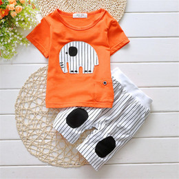 kids elephant top 2019 - good quality Baby Clothing Set summer Kids Sport Suits Elephant Tops+Shorts 2pcs Tracksuit Clothes Set Toddler Boys regu