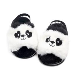 White Infant Sandals UK - INS Cute Cartoon Baby Shoes Fashion Panda unicorn cat embroidery Faux Fur Infant First shoes Newborn Casual sandal C4313