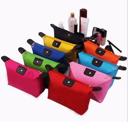 dumpling cosmetic 2019 - Candy Color Cosmetic Bag Dumpling Type Handbag Fold Waterproof Makeup Storage Bags Fashion Zipper Clutch Bags Coin Chang