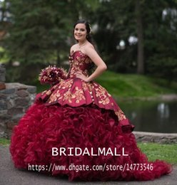masquerade ball party images Canada - Princess Burgundy Maroon Red Quinceanera Dresses Sweetheart Gold Lace Embroidery Ruffles Tiered Skirt Sweetheart 16 Masquerade Party Gowns