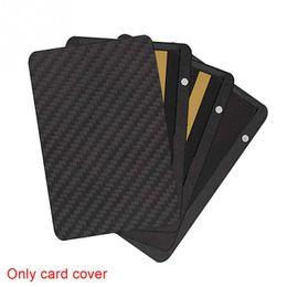 China Card Holder Slide Wallet RFID Blocking Carbon Fiber For Men Women Male Female Card Money Case suppliers