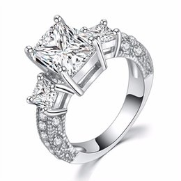 $enCountryForm.capitalKeyWord UK - Wholesale Price Silver Ring Jewelry Square Shape CZ Diamant Engagement Rings for Women s925 Sterling Silver Wedding Ring ZR191 Free Shipping
