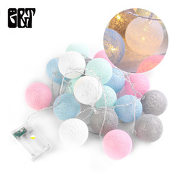 outdoor battery fairy lights Australia - GT 20 LED Cotton Ball Fairy String Lights Battery Box Christmas Wedding Decor Outdoor 3m Waterproof holiday Bedroom Decorations