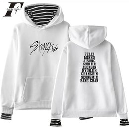 fddd1623784 bts harajuku kpop Stray Kids Album Hooded Sweatshirt Stripe Patchwork Long  Sleeve Hoodies Loose Streetwear Tracksuit plus size