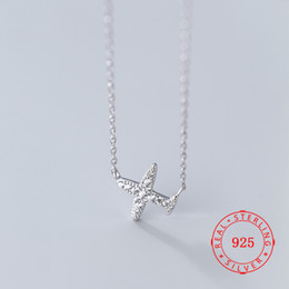 $enCountryForm.capitalKeyWord Australia - Hot Sale Unique Small Pure 925 Sterling Silver Cute Airplane Pendant Necklaces for Women Female Necklaces
