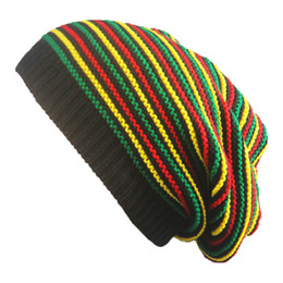 Chinese  New Stylish Bob Marley Reggae Hat Jamaican Pom Slouch Baggy Beanie Stripe Brim Cotton Winter Warmer Visor Stripe Cap manufacturers