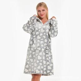 Sexy warm winter dreSSeS online shopping - New Winter Hooded Nightgown Female Sleepwear Coral Fleece Nightdress Thicken Warm Nightwear Home Dress Long Sleeve Negligee