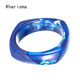 blue resin bangles NZ - KHARISMA 2019 Personality Trendy Geometric Blue Brown Resin Bangles Femme men Bracelet Fashion Jewelry For Women Wedding Party