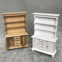 Wholesale 10PCS Cute Dollhouse Miniature Furniture Multifunction Wood Cabinet Bookcase White brown AJILE