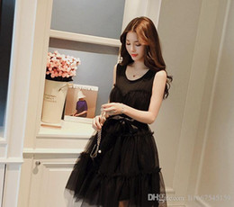 4481da6be5 Nice Summer Pop Korean Version Of The Fashion Sleeveless Net Yarn Peng Peng  Dress Midfielder A Word Pleated Corpse Skirt