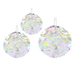 $enCountryForm.capitalKeyWord UK - 3 Pcs set Paper Flower Ball Home Decoration Iridescent Honeycomb Plastic Wedding Drop Ornament Rainbow Film Gradient Props