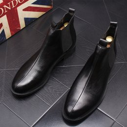 Italian Shoe Boots Men Australia - 2019 Fashion Men Chelsea Black Slip On Nubuck Trending Martin Boots Black Luxury High Top Casual Italian Style shoes man